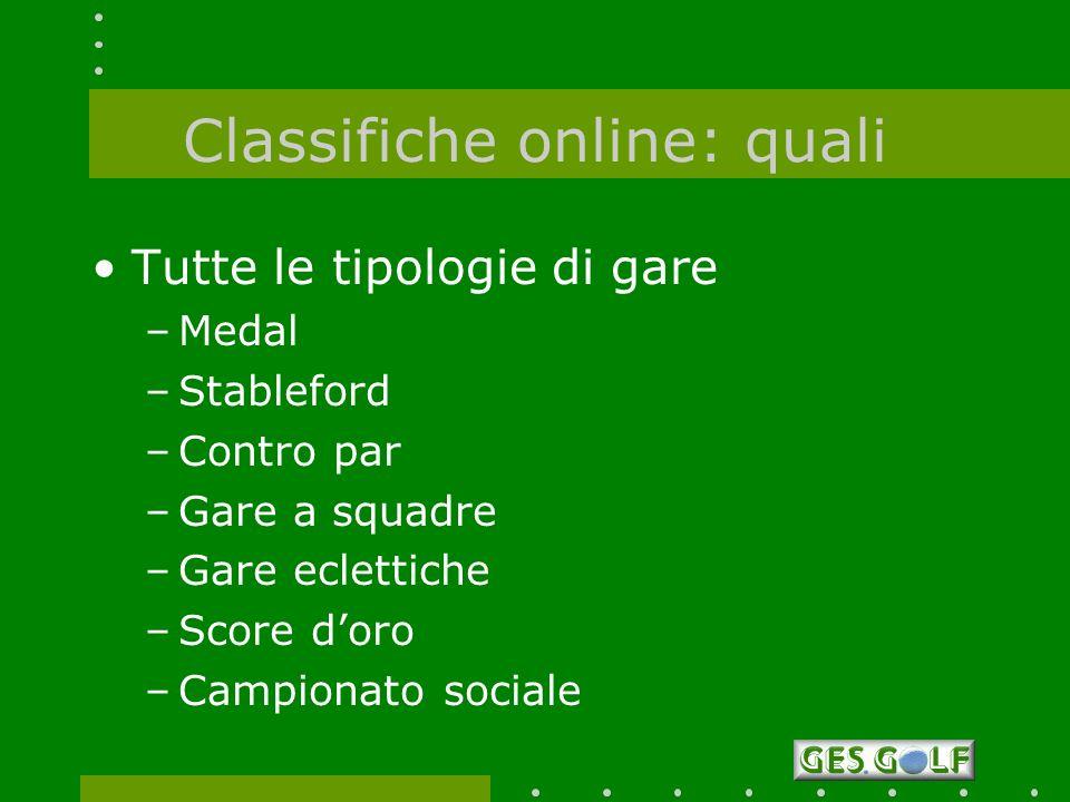 Classifiche online: quali Tutte le tipologie di gare –Medal –Stableford –Contro par –Gare a squadre –Gare eclettiche –Score doro –Campionato sociale