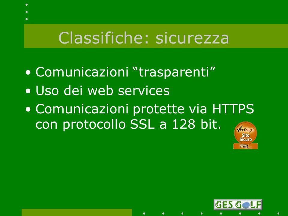 Classifiche: sicurezza Comunicazioni trasparenti Uso dei web services Comunicazioni protette via HTTPS con protocollo SSL a 128 bit.