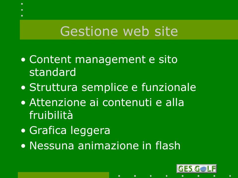 Gestione web site Content management e sito standard Struttura semplice e funzionale Attenzione ai contenuti e alla fruibilità Grafica leggera Nessuna