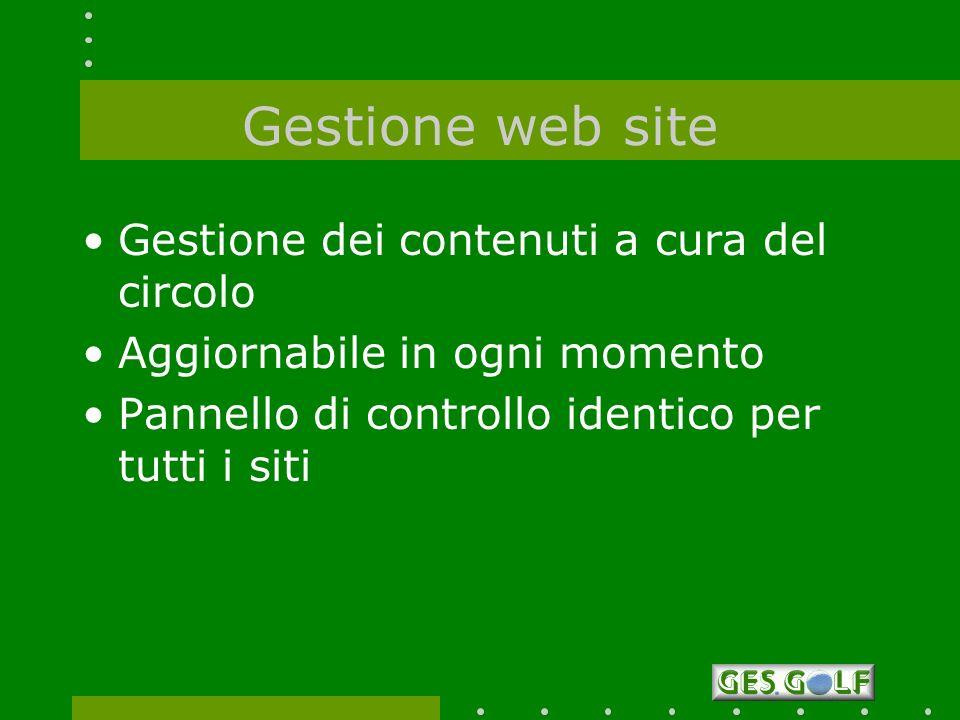 Gestione web site Gestione dei contenuti a cura del circolo Aggiornabile in ogni momento Pannello di controllo identico per tutti i siti