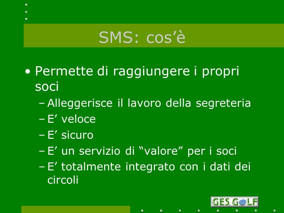 SMS: cosè Permette di raggiungere i propri soci –Alleggerisce il lavoro della segreteria –E veloce –E sicuro –E un servizio di valore per i soci –E to