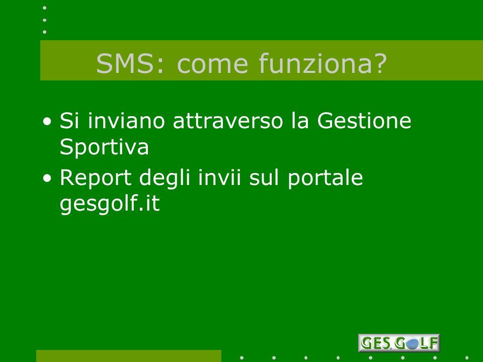 SMS: come funziona? Si inviano attraverso la Gestione Sportiva Report degli invii sul portale gesgolf.it