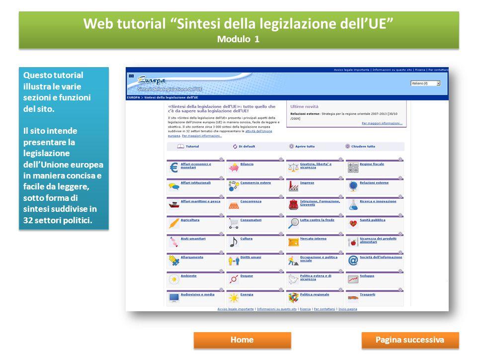Questo tutorial illustra le varie sezioni e funzioni del sito.