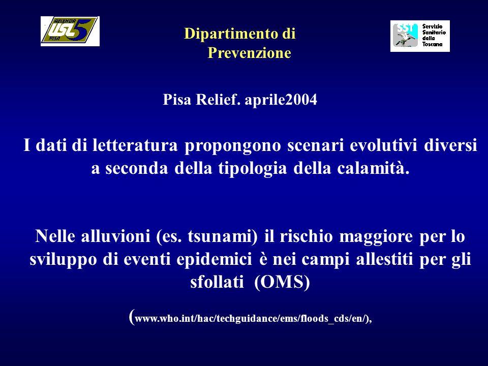 Dipartimento di Prevenzione Pisa Relief. aprile2004 I dati di letteratura propongono scenari evolutivi diversi a seconda della tipologia della calamit