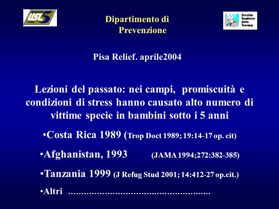 Dipartimento di Prevenzione Pisa Relief. aprile2004 Lezioni del passato: nei campi, promiscuità e condizioni di stress hanno causato alto numero di vi