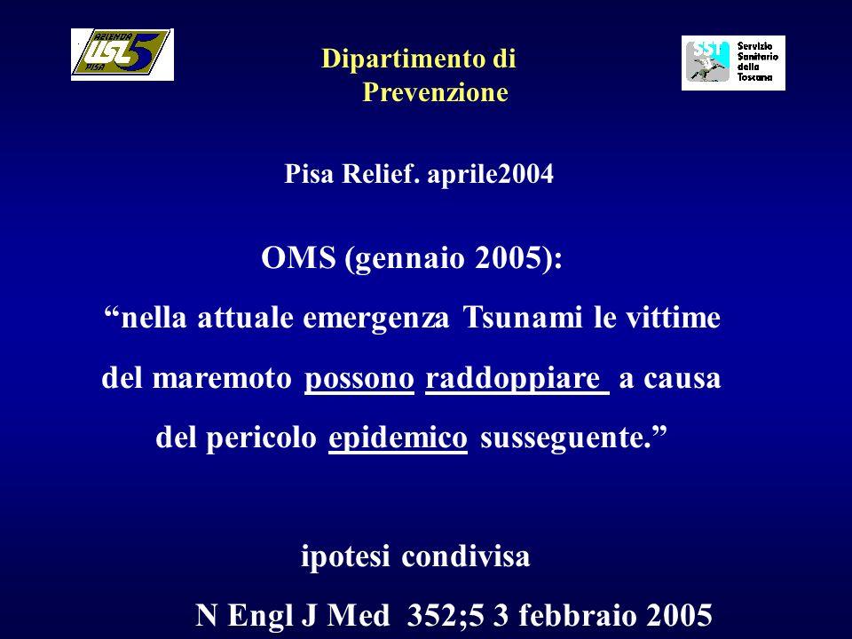 Dipartimento di Prevenzione Pisa Relief. aprile2004 OMS (gennaio 2005): nella attuale emergenza Tsunami le vittime del maremoto possono raddoppiare a