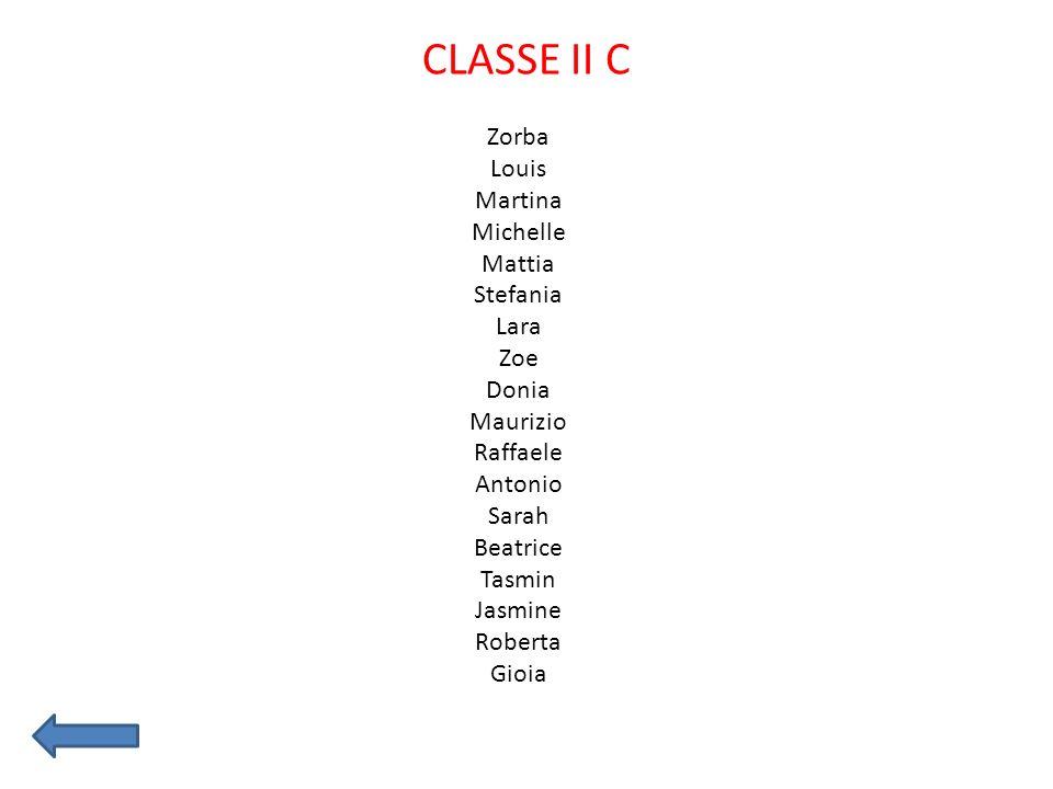 CLASSE II C Zorba Louis Martina Michelle Mattia Stefania Lara Zoe Donia Maurizio Raffaele Antonio Sarah Beatrice Tasmin Jasmine Roberta Gioia