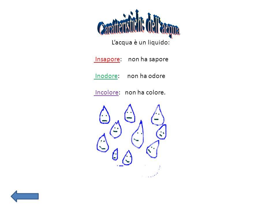 Lacqua è un liquido: Insapore: non ha sapore Inodore: non ha odore Incolore: non ha colore.