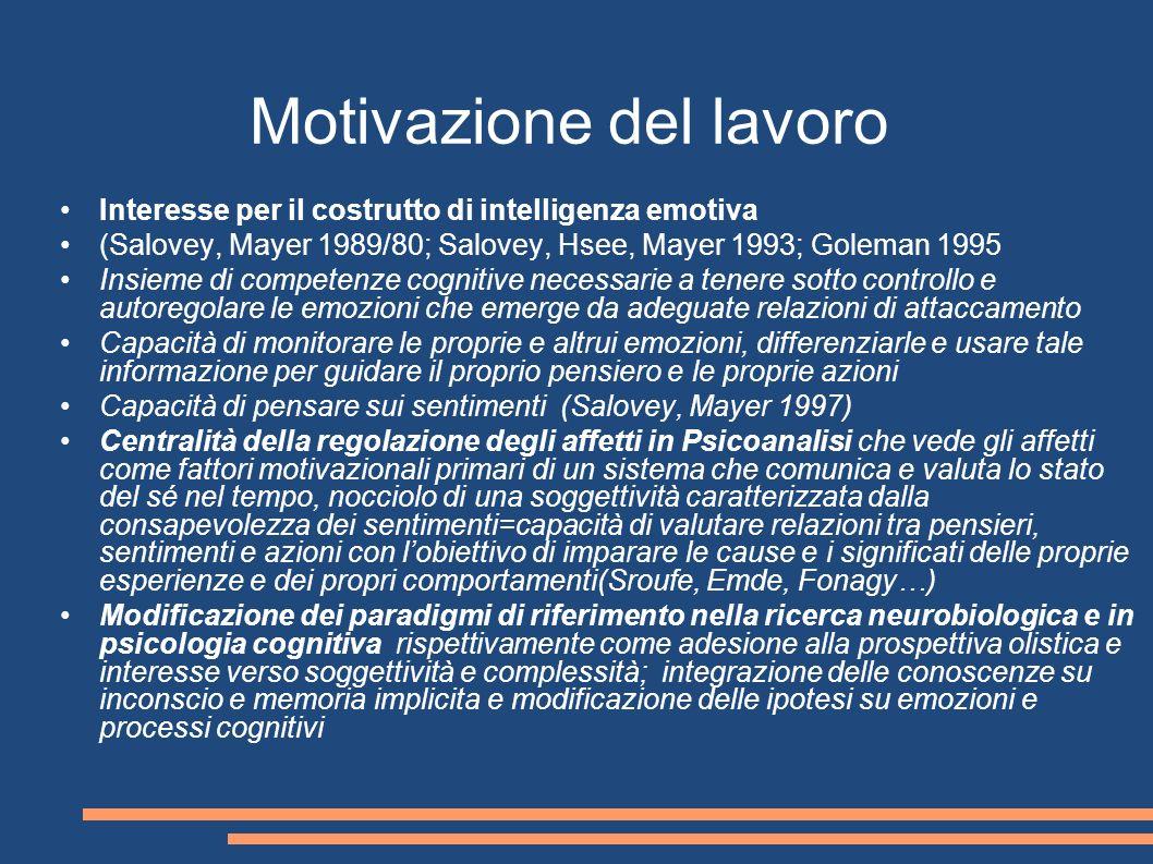 Motivazione del lavoro Interesse per il costrutto di intelligenza emotiva (Salovey, Mayer 1989/80; Salovey, Hsee, Mayer 1993; Goleman 1995 Insieme di