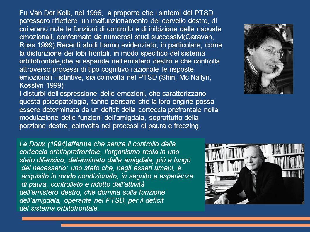 Fu Van Der Kolk, nel 1996, a proporre che i sintomi del PTSD potessero riflettere un malfunzionamento del cervello destro, di cui erano note le funzio