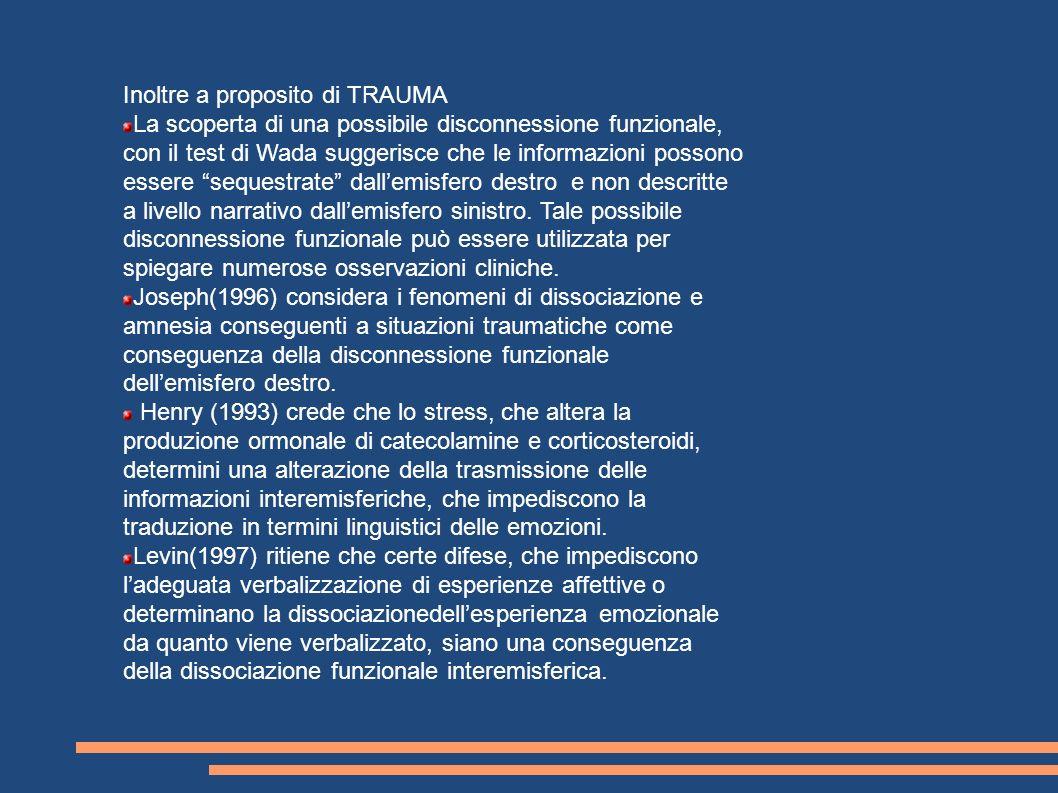 Inoltre a proposito di TRAUMA La scoperta di una possibile disconnessione funzionale, con il test di Wada suggerisce che le informazioni possono esser