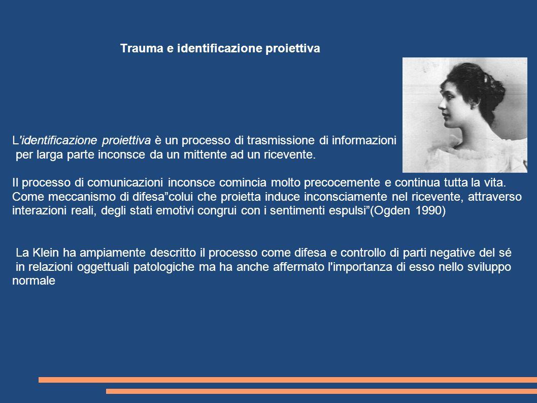 L'identificazione proiettiva è un processo di trasmissione di informazioni per larga parte inconsce da un mittente ad un ricevente. Il processo di com