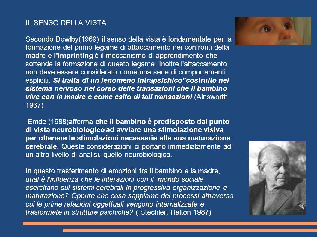 IL SENSO DELLA VISTA Secondo Bowlby(1969) il senso della vista è fondamentale per la formazione del primo legame di attaccamento nei confronti della m