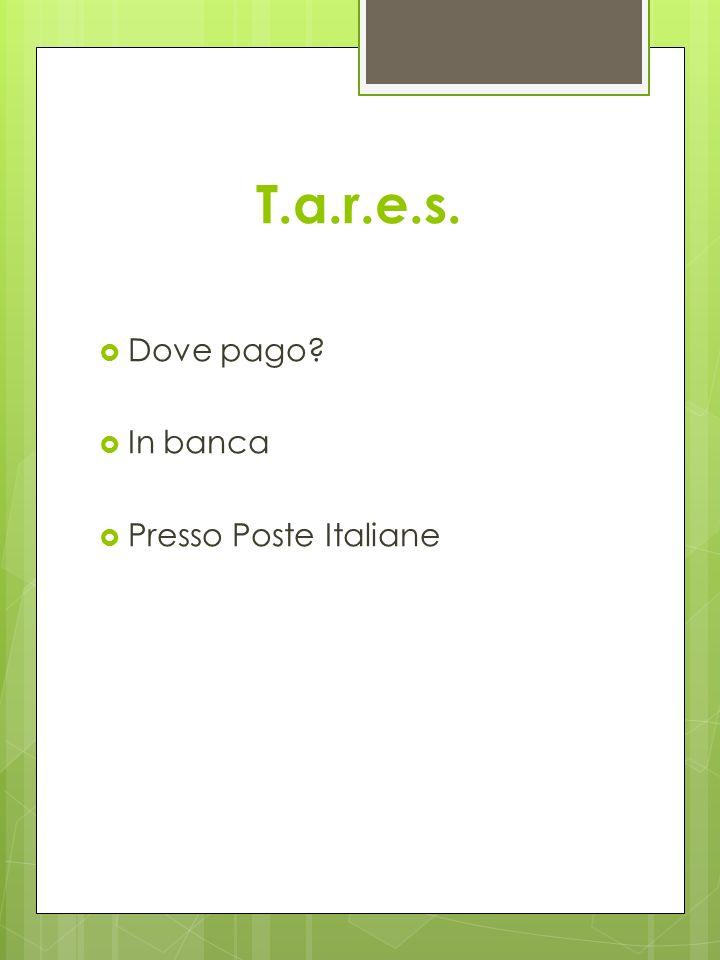 T.a.r.e.s. Dove pago? In banca Presso Poste Italiane