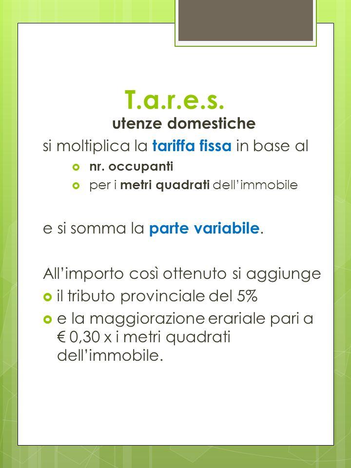 T.a.r.e.s. utenze domestiche si moltiplica la tariffa fissa in base al nr.