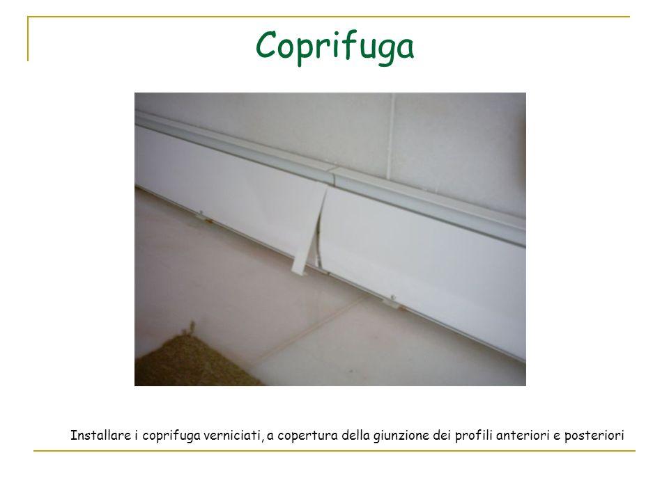 Coprifuga Installare i coprifuga verniciati, a copertura della giunzione dei profili anteriori e posteriori