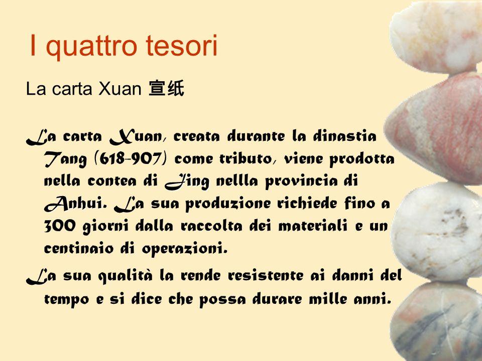 I quattro tesori Jing Anhui La carta Xuan, creata durante la dinastia Tang (618-907) come tributo, viene prodotta nella contea di Jing nellla provinci