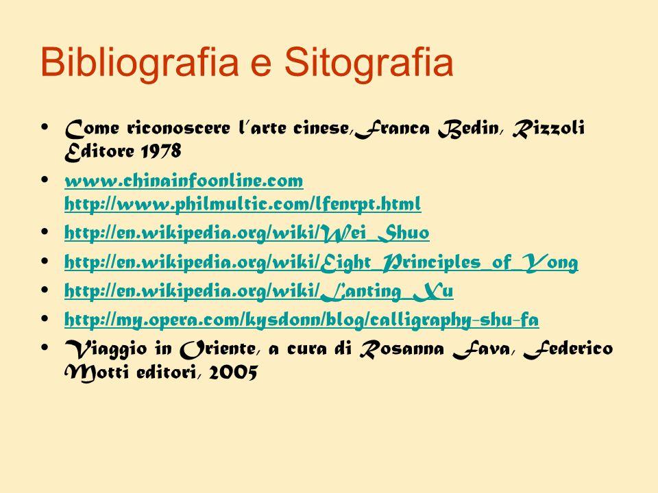 Bibliografia e Sitografia Come riconoscere larte cinese,Franca Bedin, Rizzoli Editore 1978 www.chinainfoonline.com http://www.philmultic.com/lfenrpt.h