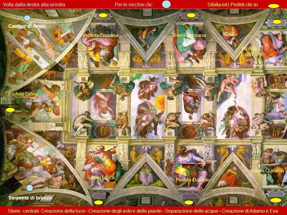 Volta della Cappella Sistina – vista parziale La parte centrale del tetto è piana; gli archi sono un effetto di prospettiva. Michelangelo ideó un quad