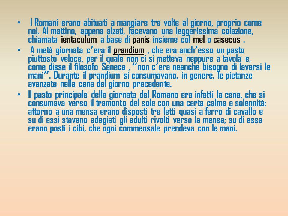 Ingredienti e conserve I Romani apprezzavano i sapori salati e dolciastri insieme: facevano uso assai frequente di mel (miele) e di alium (aglio) e di cepe (cipolla).