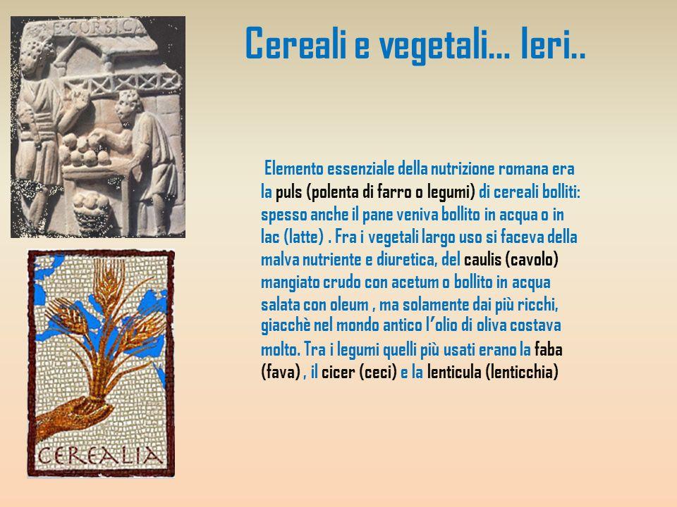 Cereali e vegetali… Ieri.. Elemento essenziale della nutrizione romana era la puls (polenta di farro o legumi) di cereali bolliti: spesso anche il pan
