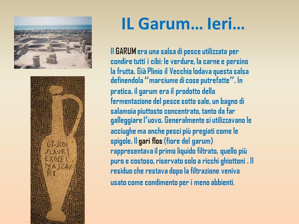 IL Garum… Ieri… Il GARUM era una salsa di pesce utilizzata per condire tutti i cibi: le verdure, la carne e persino la frutta. Già Plinio il Vecchio l