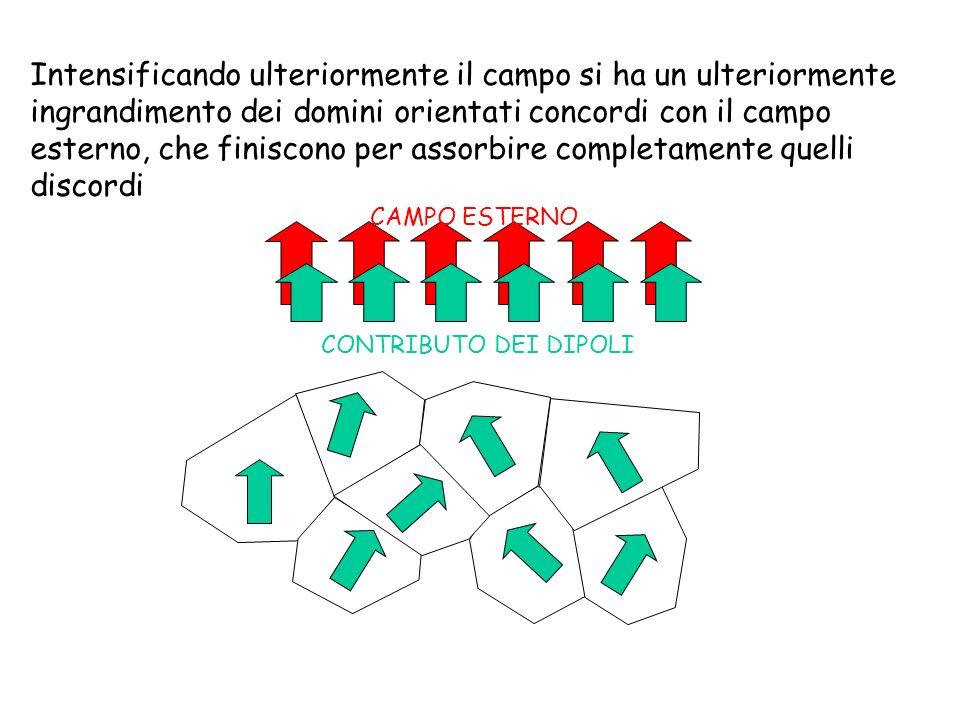 Intensificando ulteriormente il campo si ha un ulteriormente ingrandimento dei domini orientati concordi con il campo esterno, che finiscono per assor