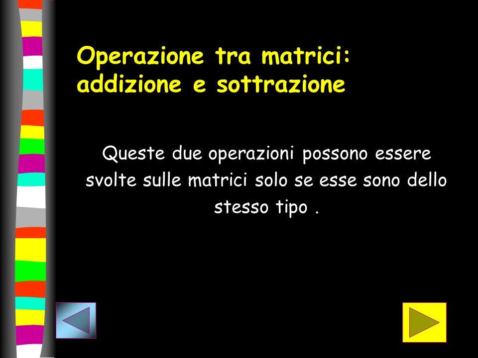 Operazione tra matrici: addizione e sottrazione Queste due operazioni possono essere svolte sulle matrici solo se esse sono dello stesso tipo.