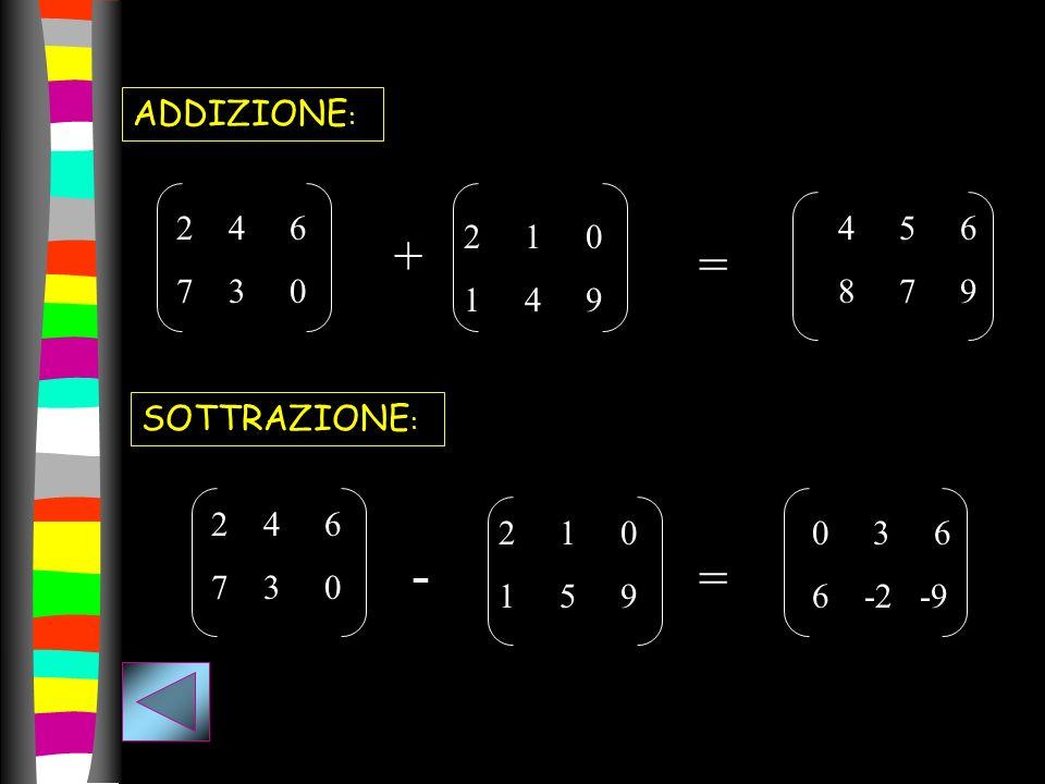 ADDIZIONE : 24 6 7 3 0 + 2 1 0 1 4 9 = 4 5 6 8 7 9 SOTTRAZIONE : 24 6 7 3 0 - 2 1 0 1 5 9 = 0 3 6 6 -2 -9