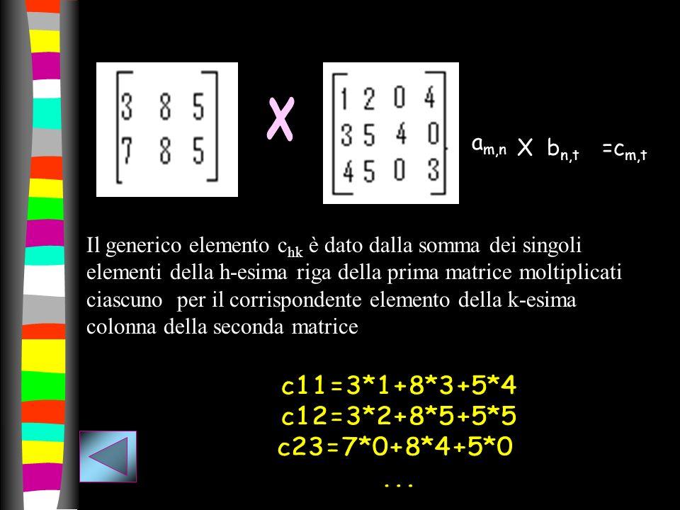 a m,n =c m,t X b n,t Il generico elemento c hk è dato dalla somma dei singoli elementi della h-esima riga della prima matrice moltiplicati ciascuno pe