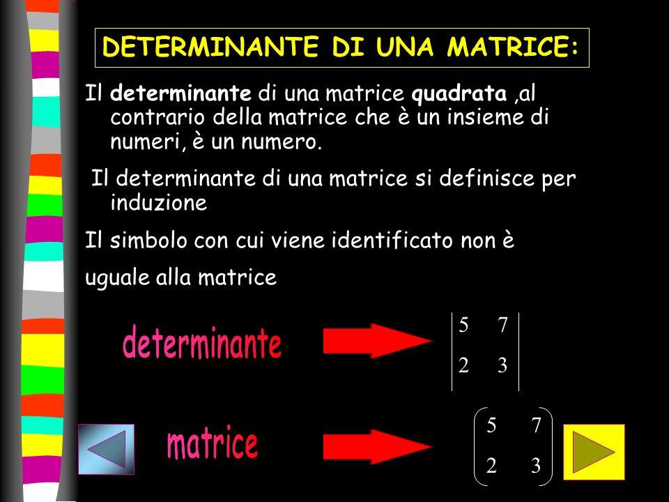 Il determinante di una matrice quadrata,al contrario della matrice che è un insieme di numeri, è un numero. Il determinante di una matrice si definisc