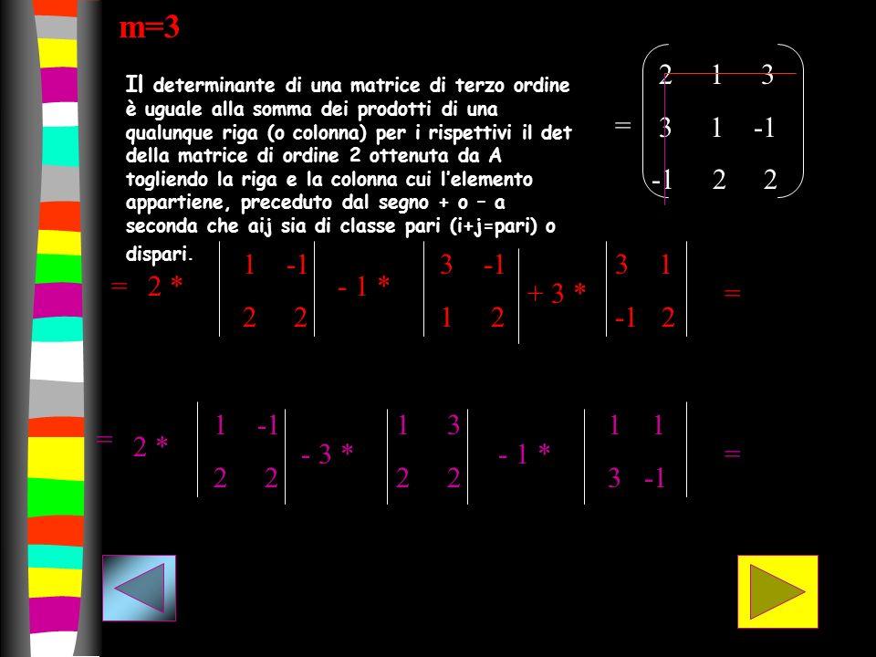 = 2 1 3 3 1 -1 -1 2 2 2 * 1 -1 2 - 1 * 3 -1 1 2 + 3 * 3 1 -1 2 = m=3 = = 2 * 1 -1 2 - 3 * 1 3 2 - 1 * 1 3 -1 = Il determinante di una matrice di terzo