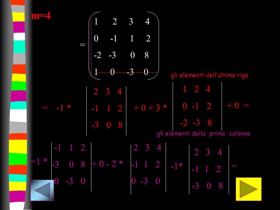 m=4 1 2 3 4 0 -1 1 2 -2 -3 0 8 1 0 -3 0 = -1 * 2 3 4 -1 1 2 -3 0 8 + 0 + 3 * 1 2 4 0 -1 2 -2 -3 8 + 0 = = =1 * -1 1 2 -3 0 8 0 -3 0 + 0 - 2 * 2 3 4 -1