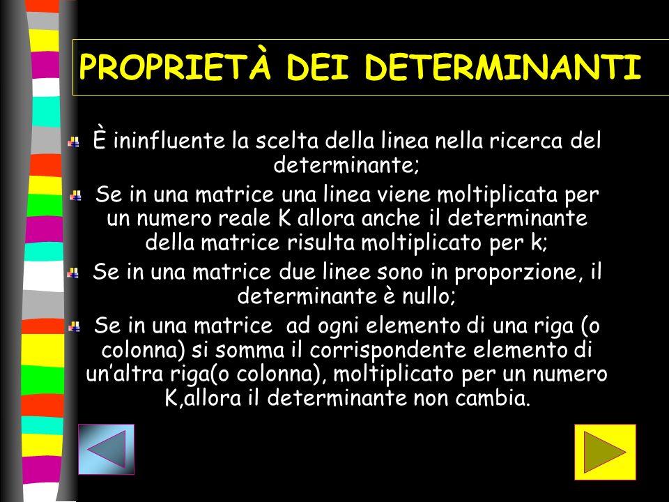 PROPRIETÀ DEI DETERMINANTI È ininfluente la scelta della linea nella ricerca del determinante; Se in una matrice una linea viene moltiplicata per un n