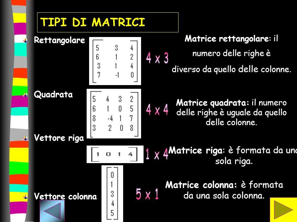 TIPI DI MATRICI Rettangolare Quadrata Vettore riga Vettore colonna Matrice rettangolare: il numero delle righe è diverso da quello delle colonne. Matr