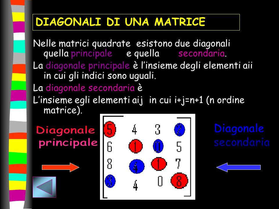 Nelle matrici quadrate esistono due diagonali quella principale e quella secondaria. La diagonale principale è linsieme degli elementi aii in cui gli
