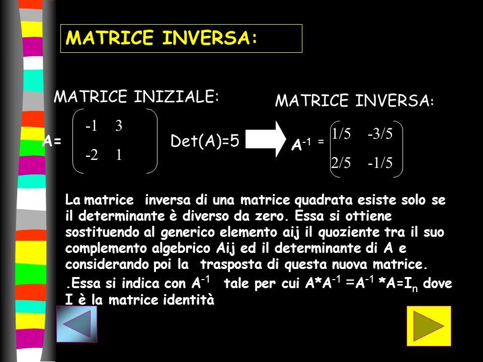 MATRICE INIZIALE: -1 3 -2 1 MATRICE INVERSA : La matrice inversa di una matrice quadrata esiste solo se il determinante è diverso da zero. Essa si ott