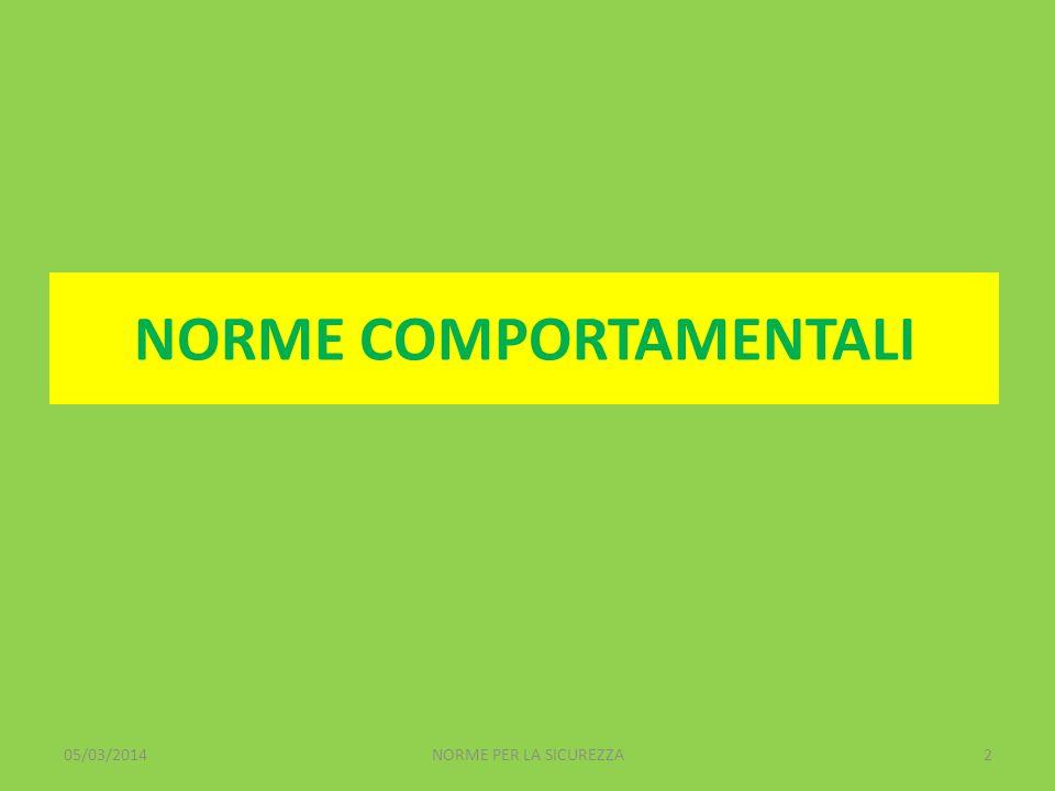 NORME COMPORTAMENTALI 05/03/20142NORME PER LA SICUREZZA