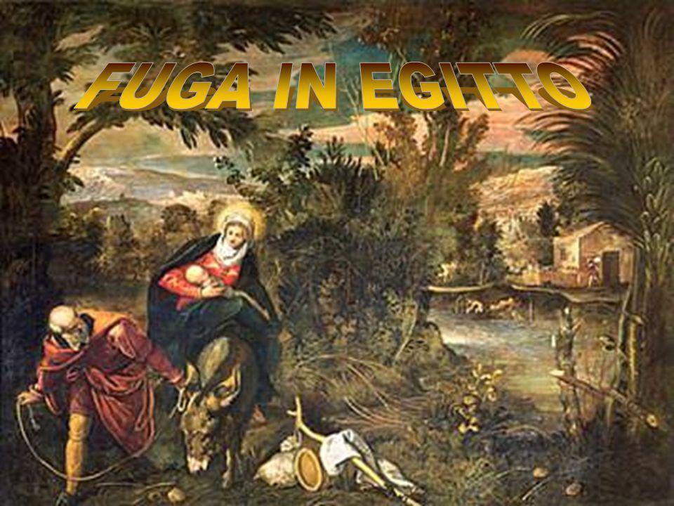 La Sacra Famiglia è ritratta come un gruppo di profughi. Sta sostando durante la fuga in Egitto, per sottrarsi alla furia omicida di Erode.È una famig