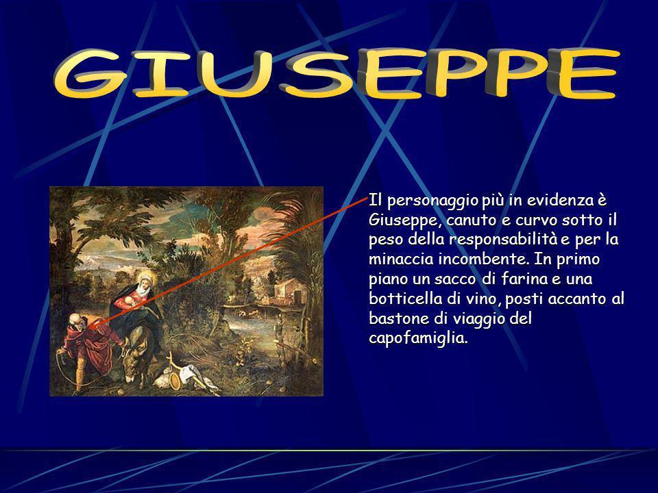 Il personaggio più in evidenza è Giuseppe, canuto e curvo sotto il peso della responsabilità e per la minaccia incombente.