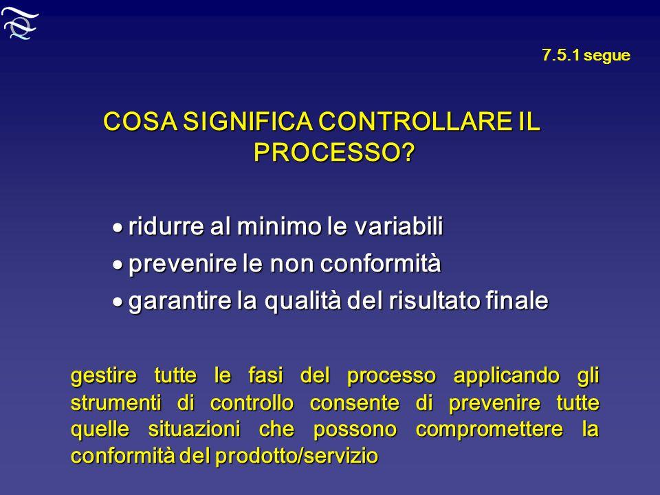 7.5.1 segue COSA SIGNIFICA CONTROLLARE IL PROCESSO? ridurre al minimo le variabili ridurre al minimo le variabili prevenire le non conformità prevenir