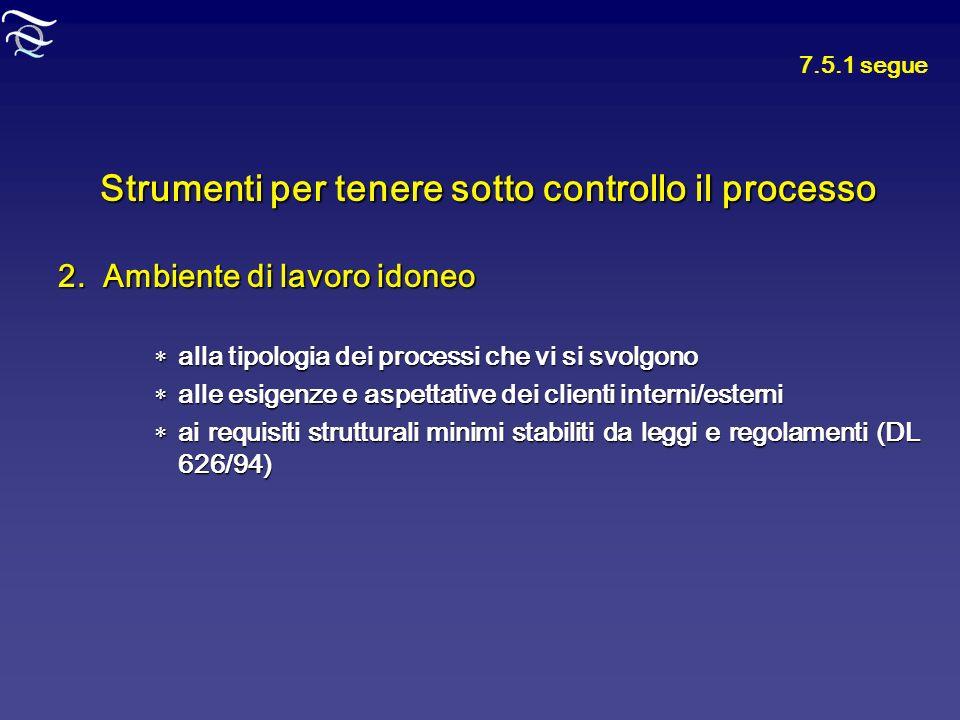 Strumenti per tenere sotto controllo il processo 2. Ambiente di lavoro idoneo alla tipologia dei processi che vi si svolgono alla tipologia dei proces