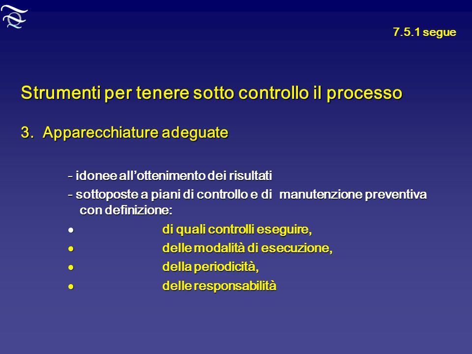 Strumenti per tenere sotto controllo il processo 3. Apparecchiature adeguate - idonee allottenimento dei risultati - sottoposte a piani di controllo e