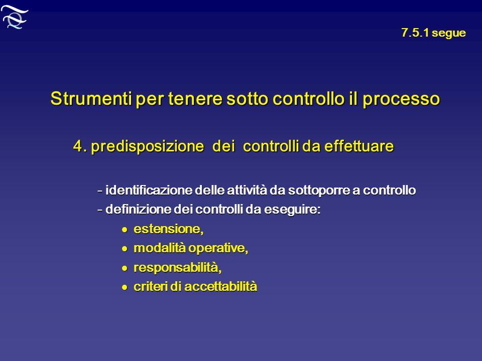 Strumenti per tenere sotto controllo il processo 4. predisposizione dei controlli da effettuare - identificazione delle attività da sottoporre a contr