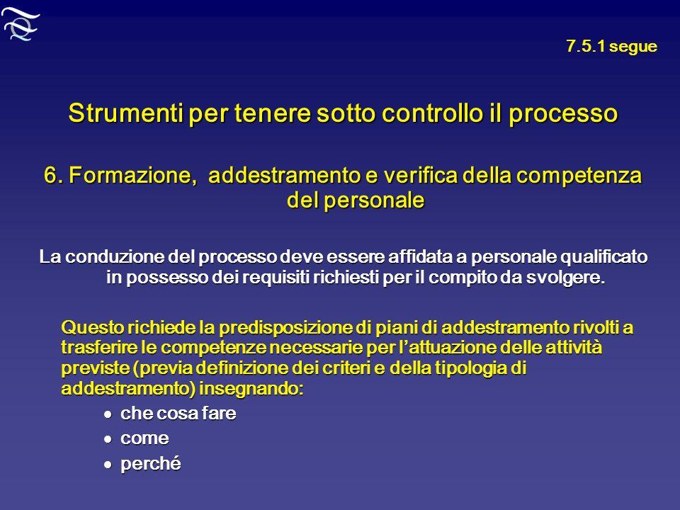 Strumenti per tenere sotto controllo il processo 6. Formazione, addestramento e verifica della competenza del personale La conduzione del processo dev