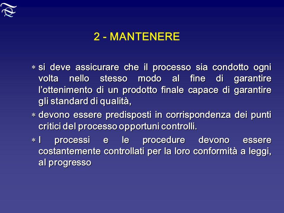 2 - MANTENERE si deve assicurare che il processo sia condotto ogni volta nello stesso modo al fine di garantire lottenimento di un prodotto finale cap