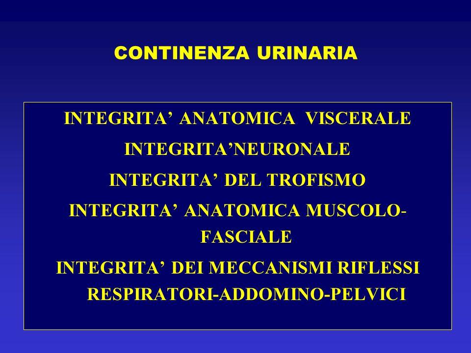 CONTINENZA URINARIA SOTTO SFORZO 1960 ENHORNING GRADIENTE PRESSORIO GIUNZIONE URETRO-VESCICALE 1970 BECK RIPIEGAMENTO URETRALE 1994 DE LANCEY EFFETTO AMACA 1998 ZIVKOVIC IMPORTANZA COMPARTO POSTERIORE