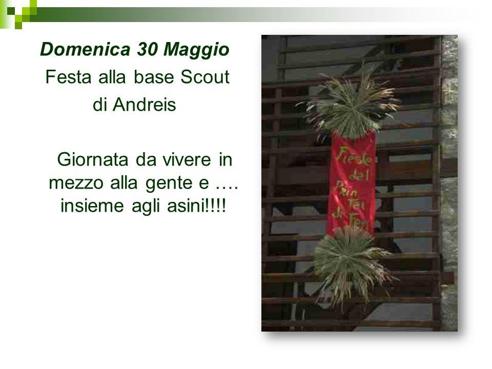 Domenica 30 Maggio Festa alla base Scout di Andreis Giornata da vivere in mezzo alla gente e …. insieme agli asini!!!!