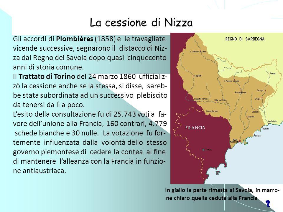 21 La cessione di Nizza Gli accordi di Plombières (1858) e le travagliate vicende successive, segnarono il distacco di Niz- za dal Regno dei Savoia do