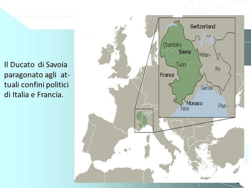2 Estensione del Ducato di Savoia rispetto al Piemon- te attuale. 1